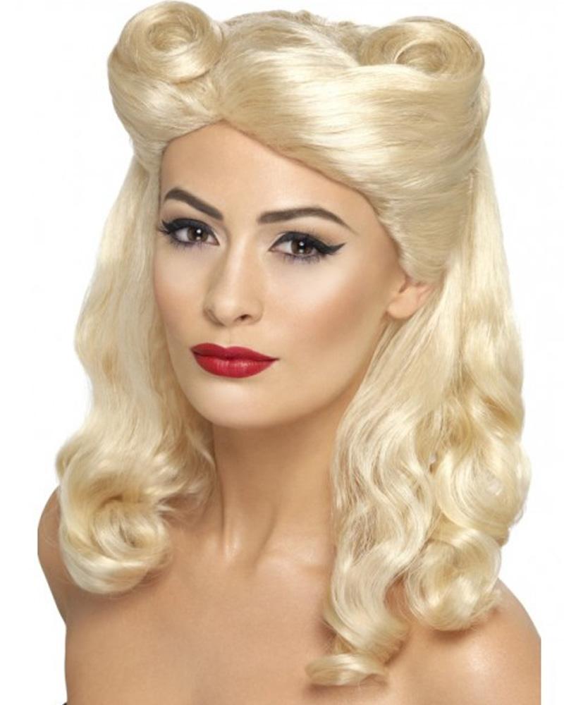 Stupendous W283 Blonde Pin Up Girl Wig 1940S Vintage Audrey Hepburn War 40 Hairstyles For Women Draintrainus