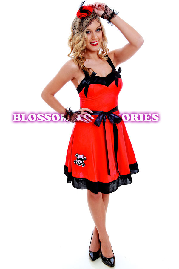 G17 Ladies 50s Red Retro Swing Pin Up Vintage Rockabilly ...