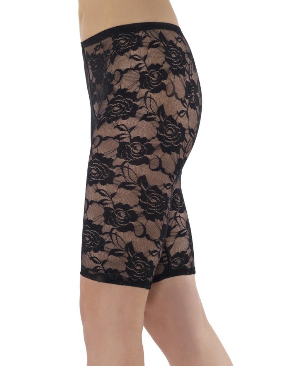 A566 Ladies 80u0026#39;s Cycling Shorts 1980u0026#39;s Disco Black Lace Leggings Fancy Costume