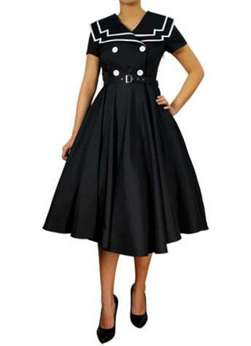 Rk20 Vintage Sailor Nautical Retro Flared Formal Dress Rockabilly