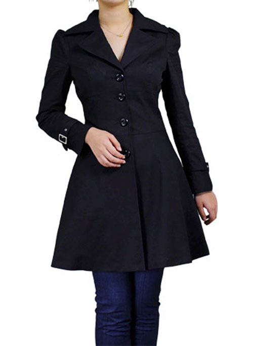 RK66 Black Rockabilly Trench Coat Trenchcoat Winter Lace Up Ruffled Jacket