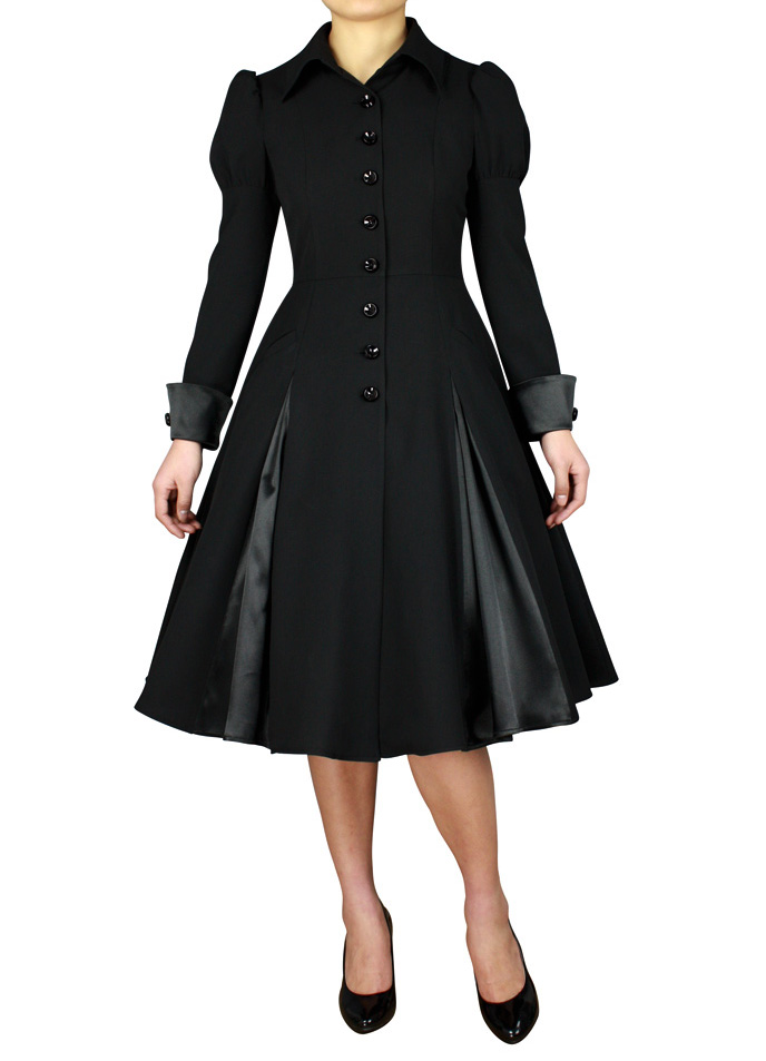 RK94 Rockabilly Trenchcoat Retro Dress Trench 50s Vintage Jacket Winter Autumn