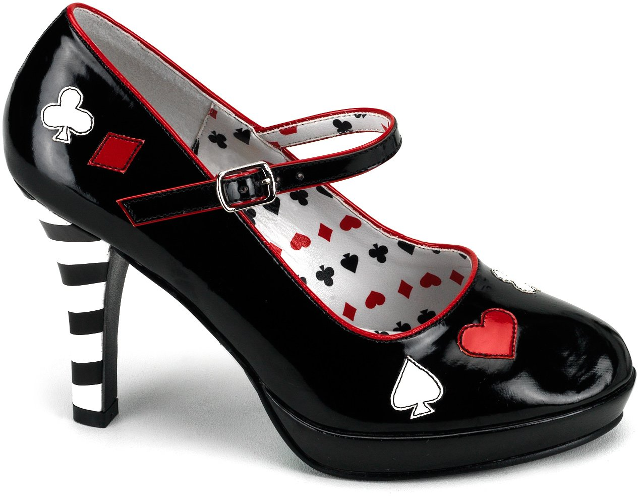 S12 Ladies Queen Of Hearts Alice in Wonderland Shoes Heels Fancy Dress Footwear