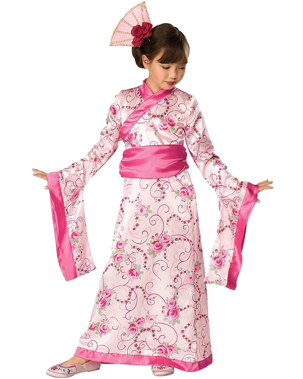 CK358 Child Asian Princess Japanese Girls Kimono Geisha Fancy Dress Up Costume