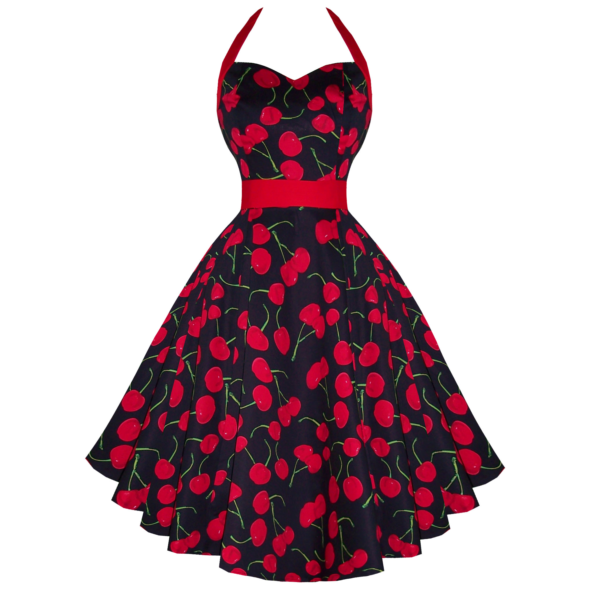 RKH57 Hearts & Roses Cherry Rockabilly Dress Pin Up Vintage 50s Party Prom Swing