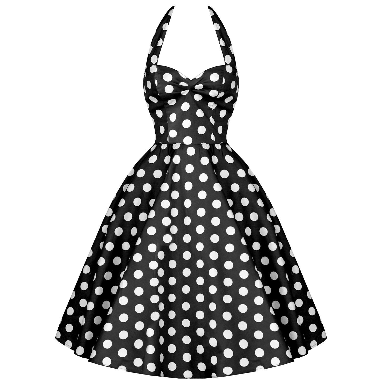 RK76 Rockabilly Polka Dot Halter Party Work Dress 40s 50s Retro Emo Pin Up Plus