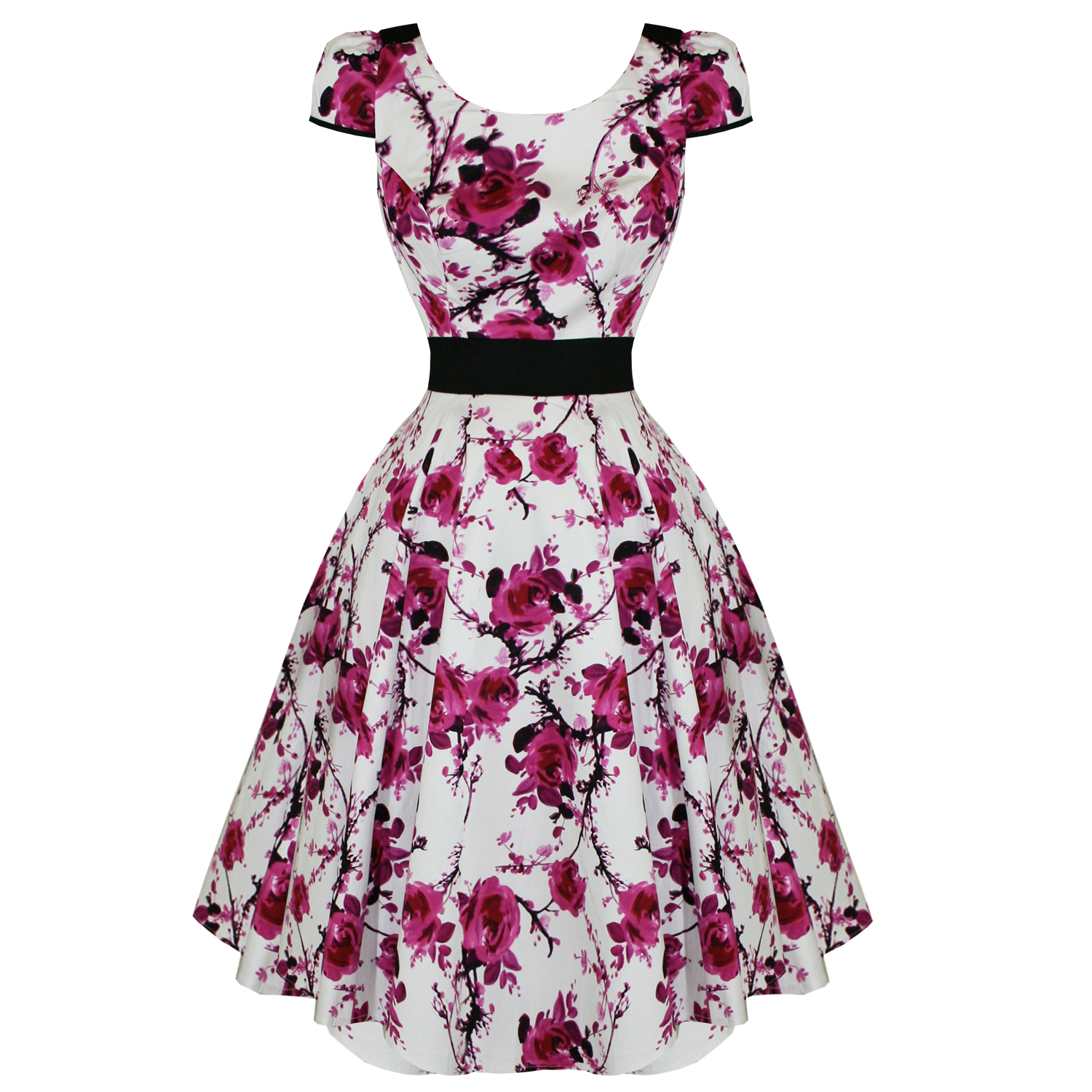RKH47 Hearts & Roses Pink Floral Rockabilly Formal Evening Dress 50s Retro Plus
