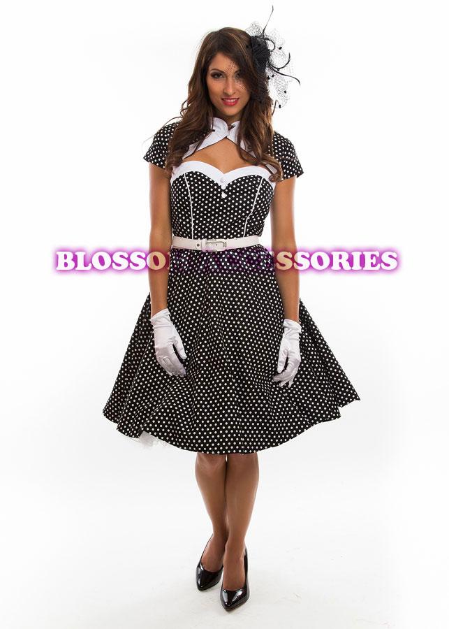 RK74-Rockabilly-Polka-Dot-Swing-Dress-Black-Red-50s-Retro-Pin-Up-Bridesmaid-Plus