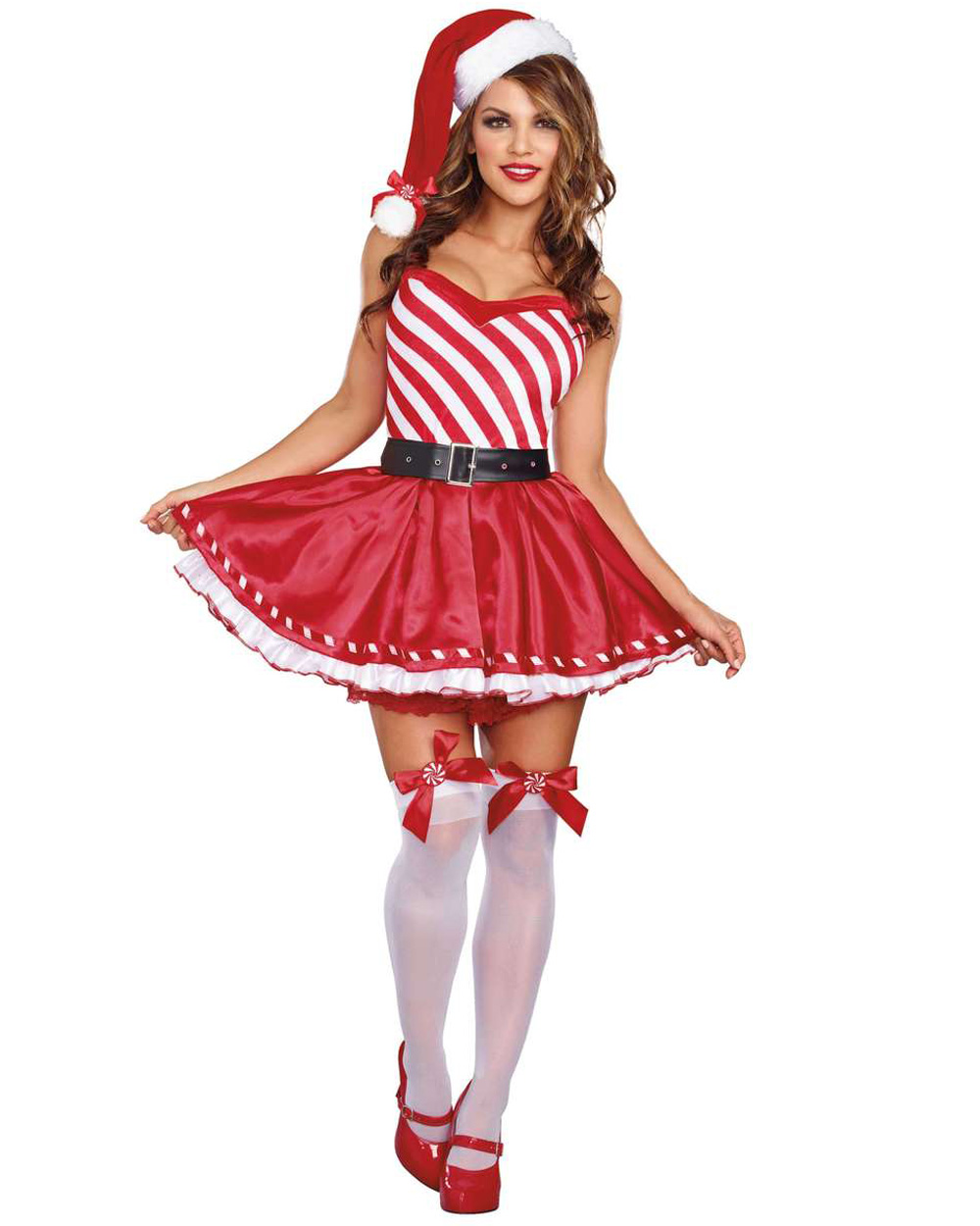K287 Ladies Candy Cane Santa Christmas Xmas Fancy Dress Up ...