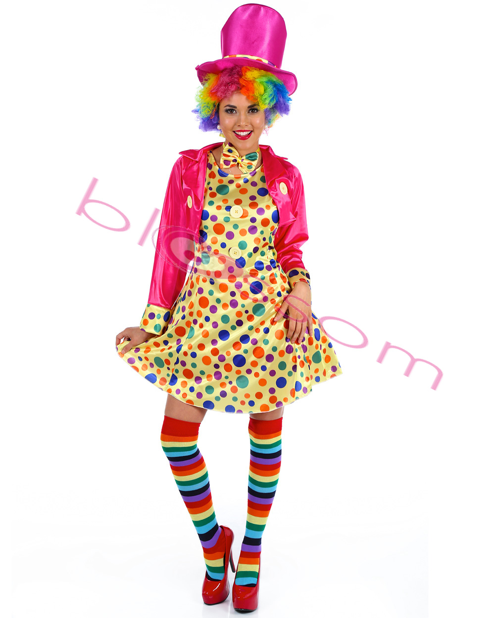 K10 Ladies Funny Clown Costume Circus Carnival Fancy Dress Birthday Party Outfit