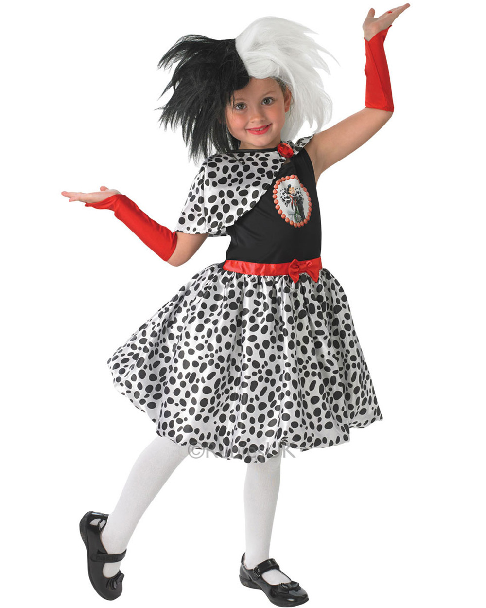 ck348 cruella de ville 101 dalmations villain girls fancy dress costume outfit. Black Bedroom Furniture Sets. Home Design Ideas