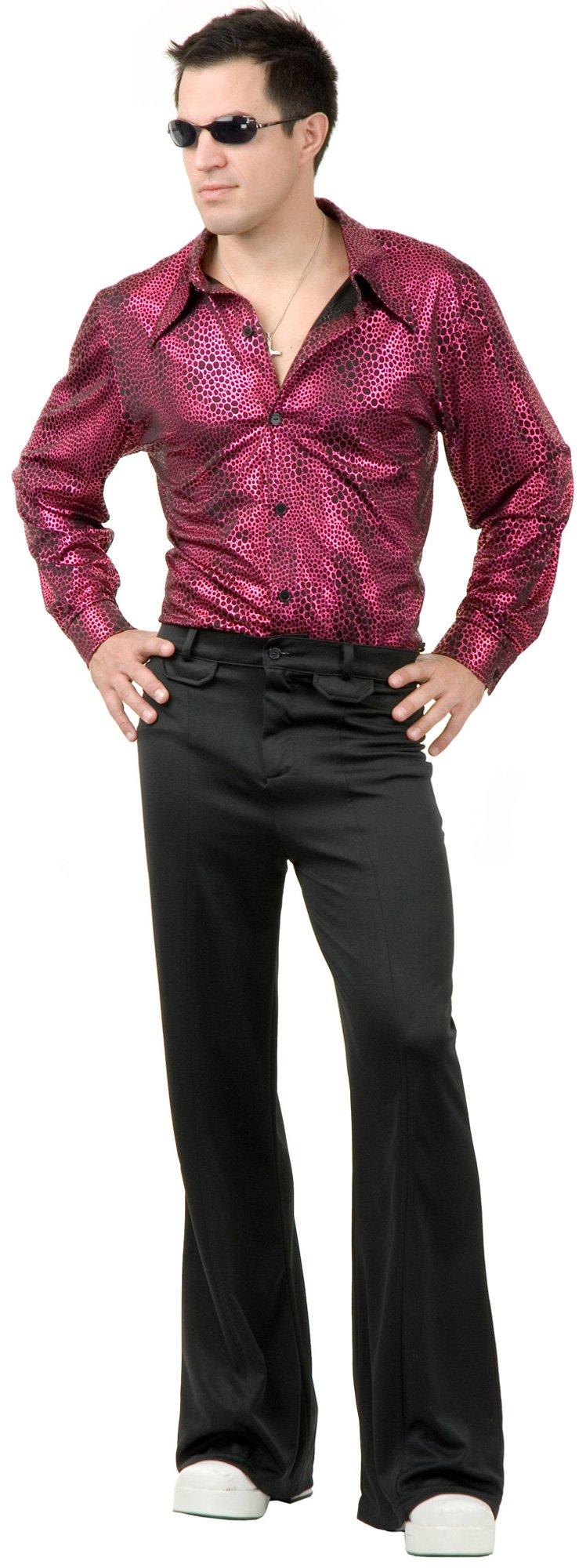 C418 60s 70s Mens Disco Shirt Hologram Adult Halloween Costume M L XL