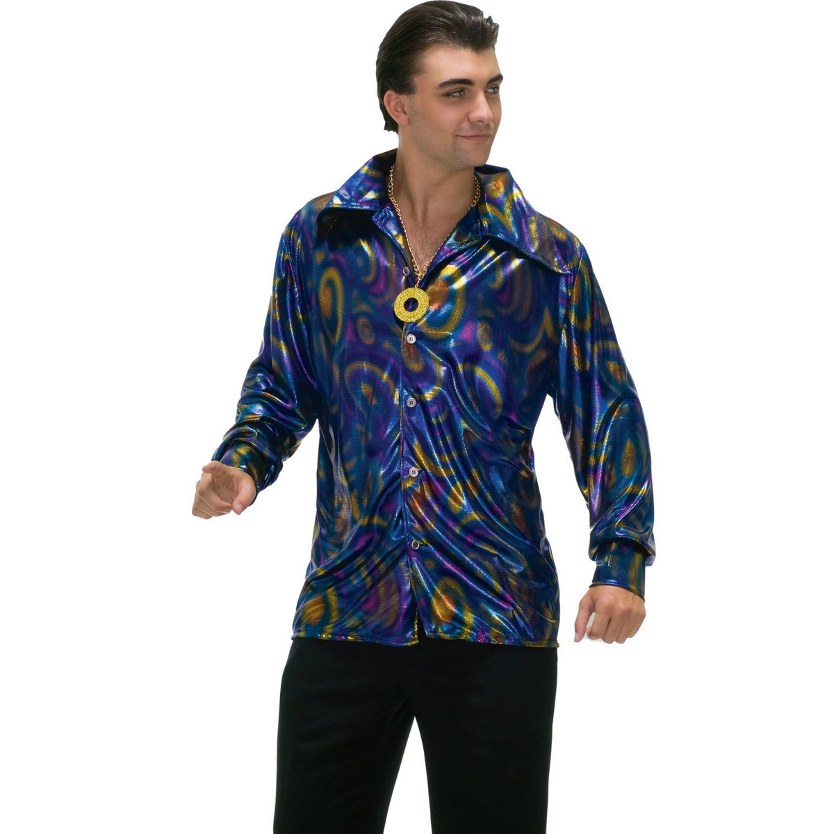 60s 70s Mens Blue Dynomite Disco Shirt Groove Adult Halloween Costume