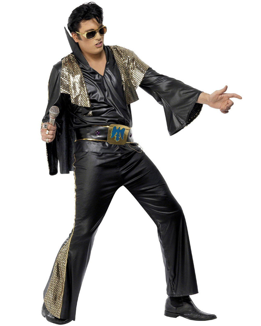 CL469 Elvis Presley Black Gold Licensed Costume Rock And