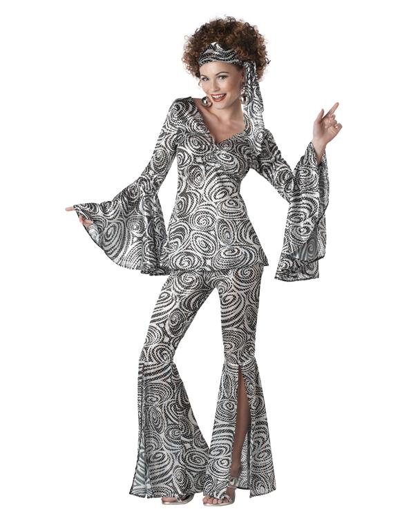 C130 foxy lady silver disco diva 60 39 s 70 39 s retro fancy dress adult costume ebay - Diva pants ebay ...