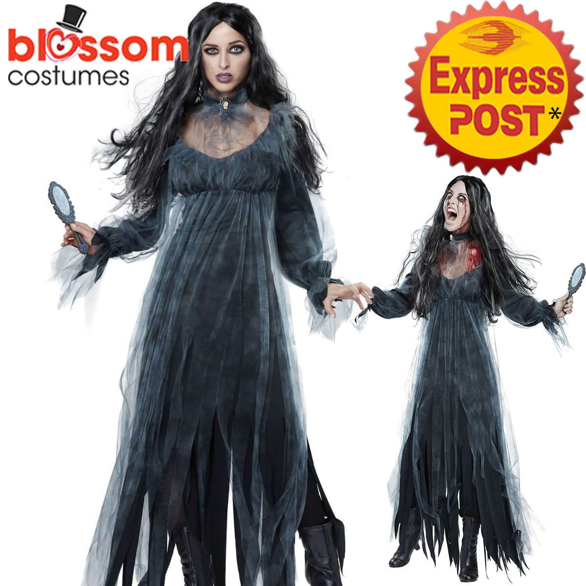 ca708 ladies bloody mary legend ghost costume halloween horror scary