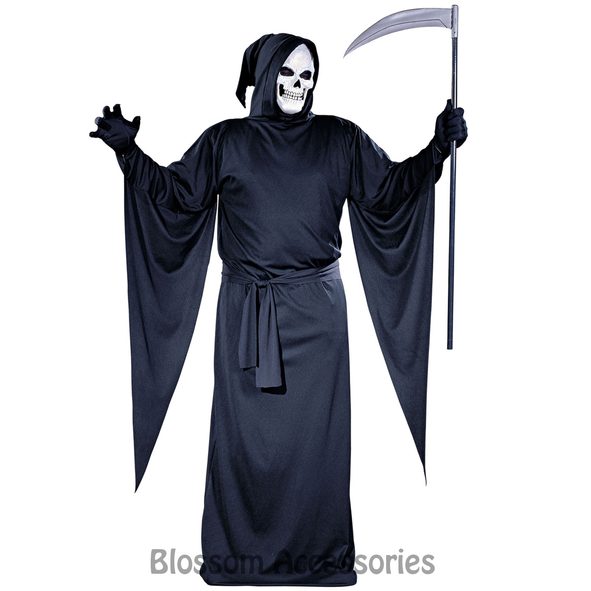 CA60 Grim Reaper Scary Horror Hooded Robe Halloween Fancy Dress Mens Costume