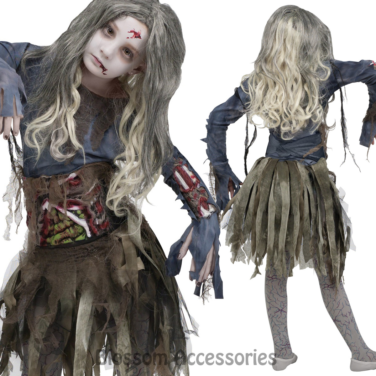 ck863 zombie costume girls teen walking dead ghost horror scary