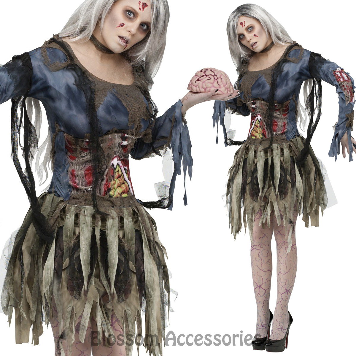 image is loading cl986 zombie costume womens walking dead ghost horror