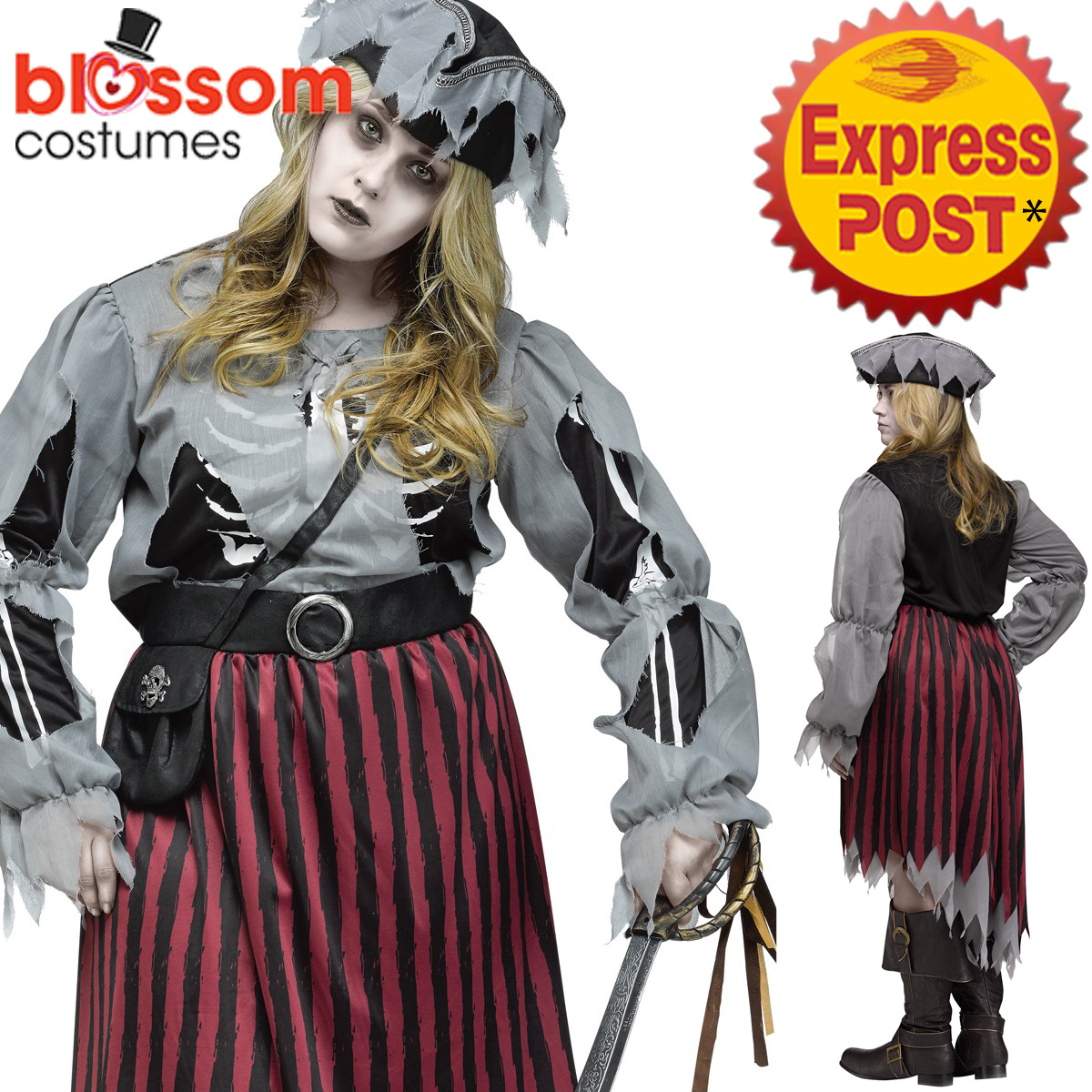 CA460-Zombie-Pirate-Queen-Undead-Halloween-Plus-Womens-Ghost-Dress-Up-Costume