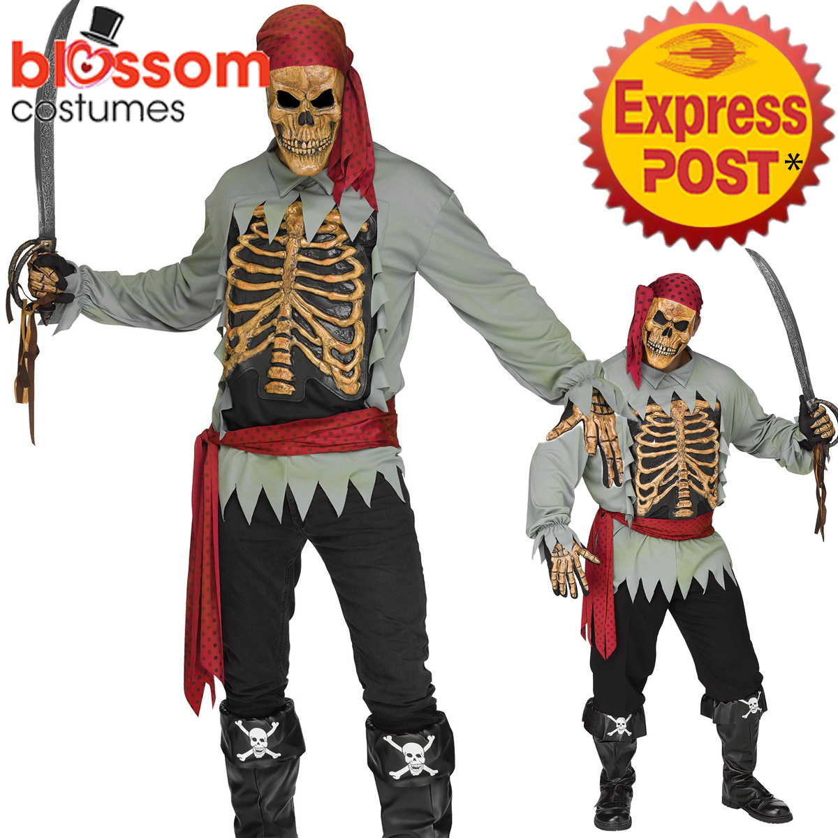 Image is loading CA585-Skeleton-Pirate-Costume-Count-Ghost-Zombie-Halloween-  sc 1 st  eBay & CA585 Skeleton Pirate Costume Count Ghost Zombie Halloween Adult ...