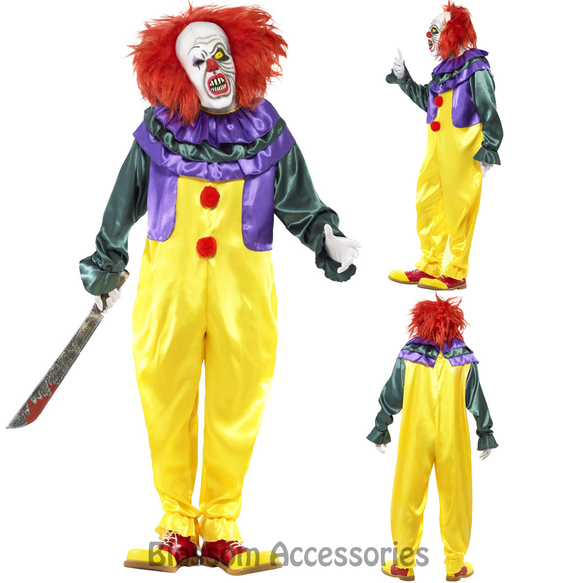 Horror Killer Clown Scary Circus Costume Mens Halloween Pennywise + Mask
