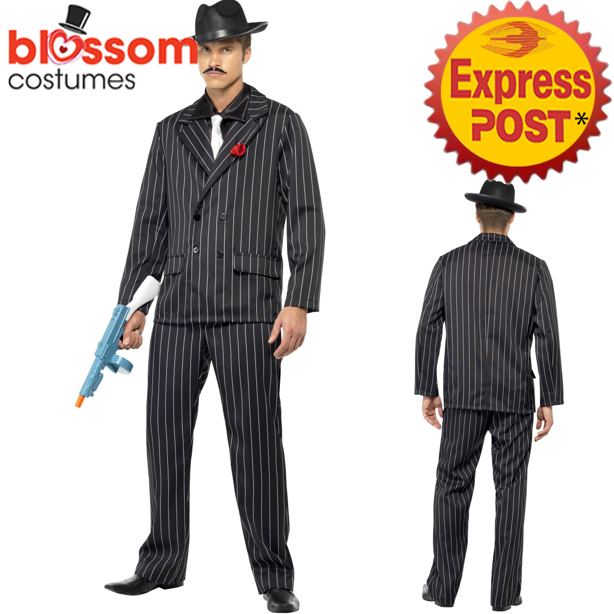 ca396 zoot suit gangster 1920s mens pinstripes gatsby 20s