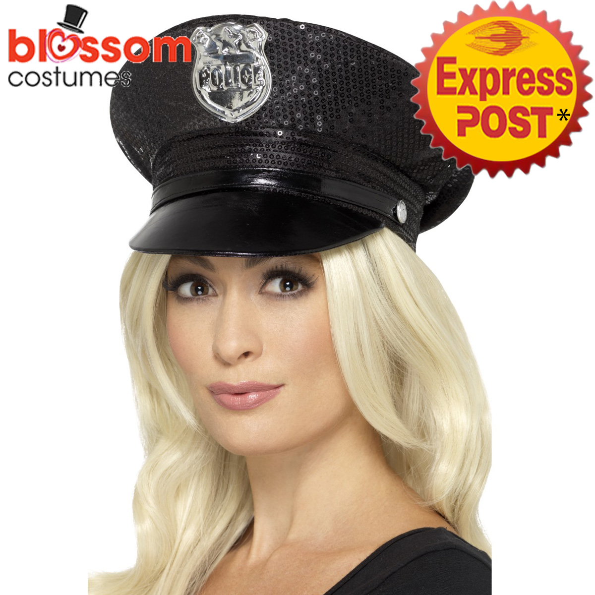 AC317-Fever-Sequin-Police-Hat-Black-Cops-amp-Robbers-Uniform-Costume-Accessory
