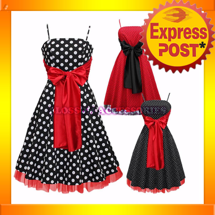 Dot-Swing-Dress-Black-Red- Vintage Black And Red Bridesmaid Dresses