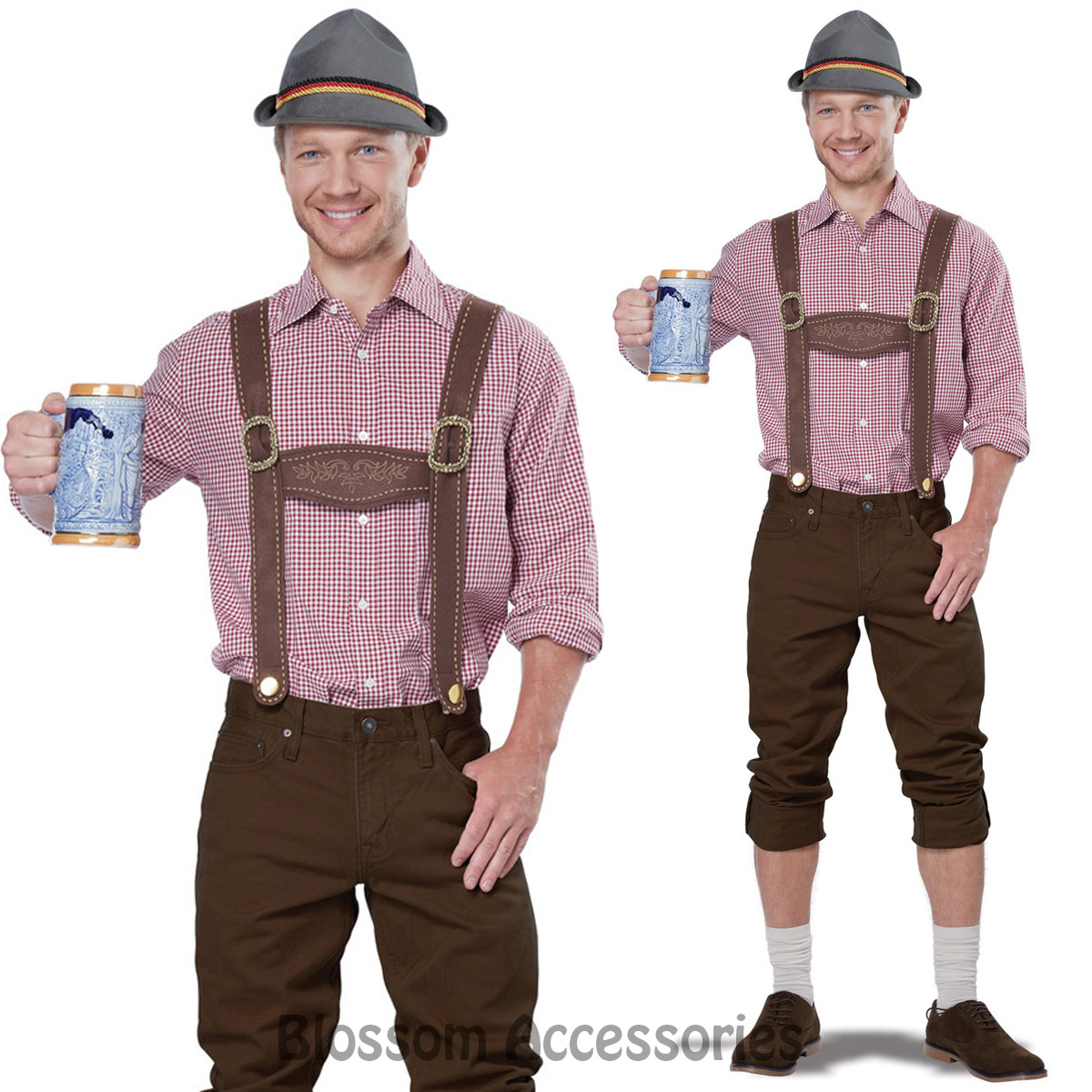 CL534-Lederhosen-Kit-Men-Suspenders-Hat-Oktoberfest-German-Beer-Bavarian-Costume