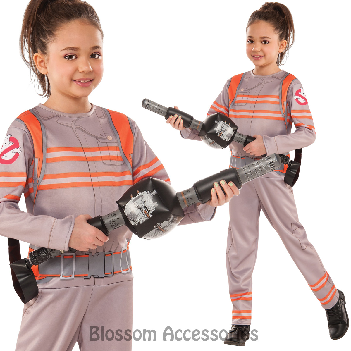 ck806 girls ghostbusters movie fancy dress halloween costume ghost buster outfit