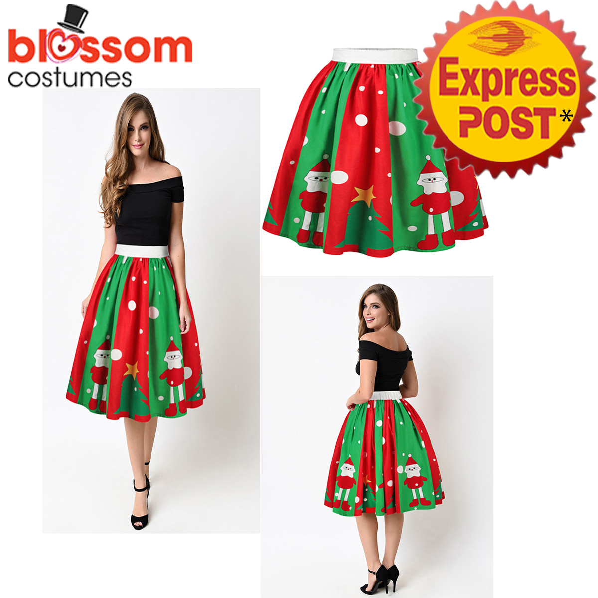 K473-Christmas-Skirt-High-Waist-Skater-Retro-Flared-Xmas-Rockabilly-Vintage-50s