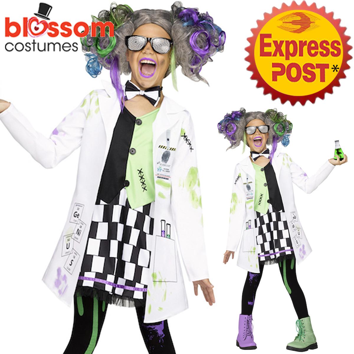 Ck1256 Girls Mad Scientist Evil Doctor White Coat Lab Einstein