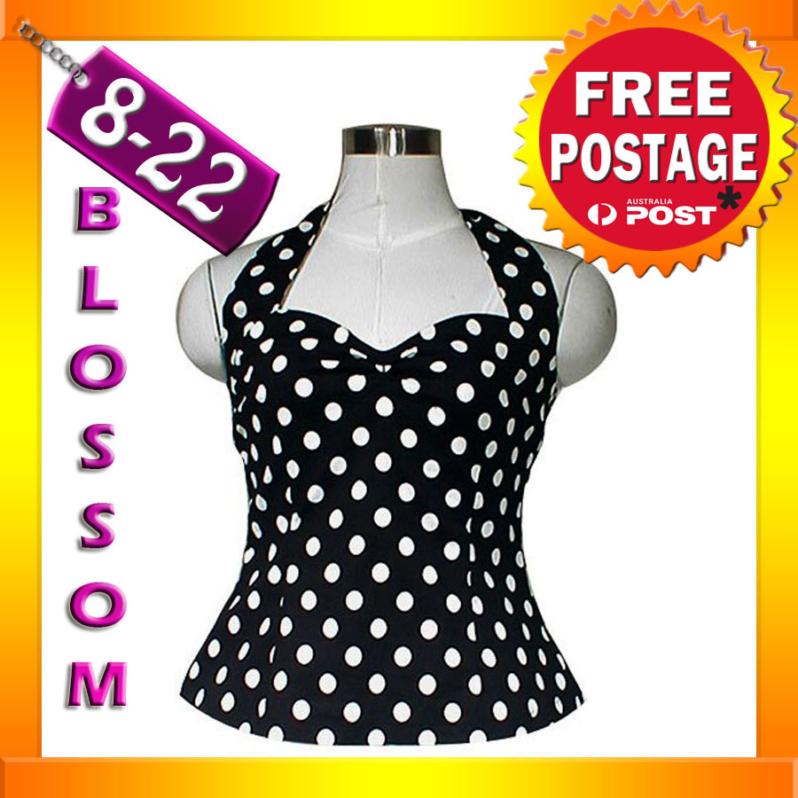 RK2-Rockabilly-Polka-Dot-Halter-Top-Work-Black-40s-50s-Retro-Emo-Pin-Up-Plus