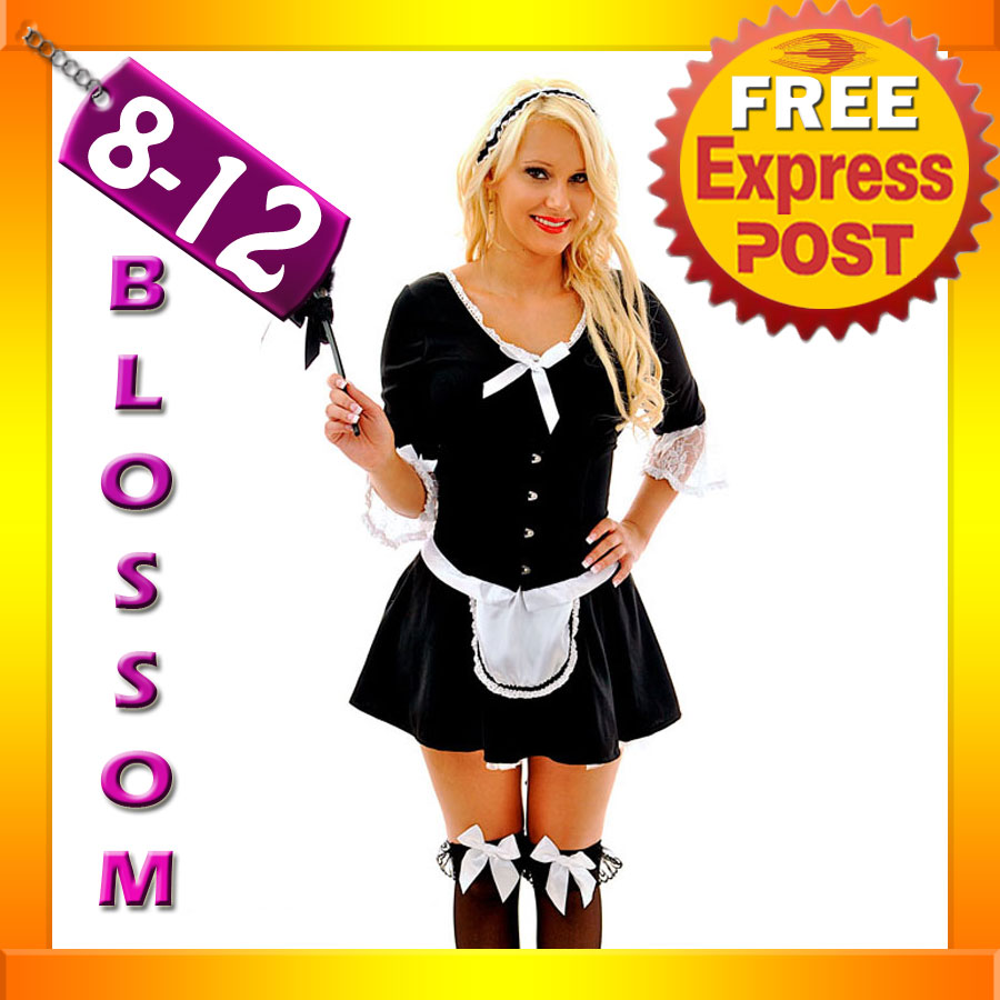 F53-French-Maid-Ladies-Uniform-Outfit-Fancy-Dress-Halloween-Party-Hens-Costume