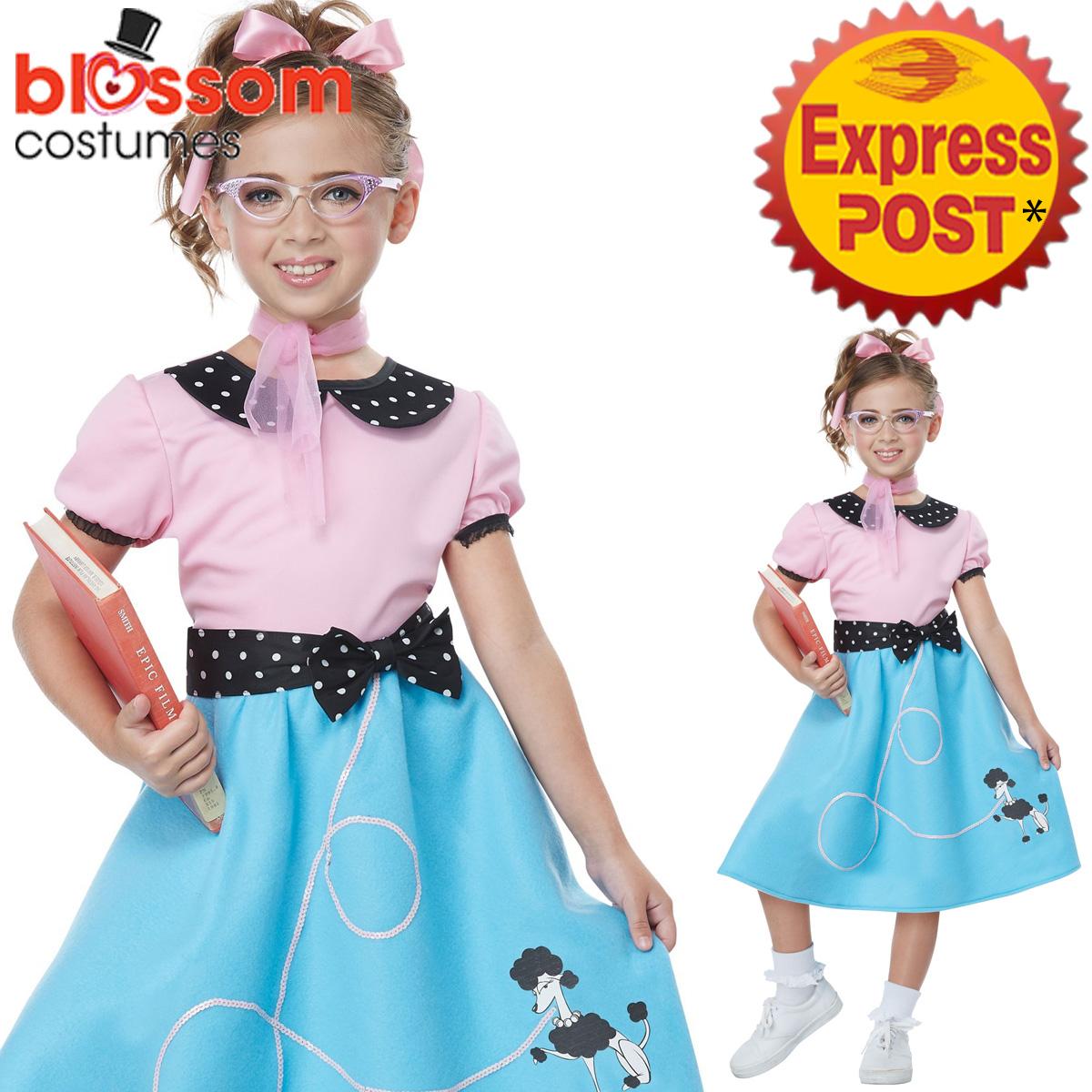 CK1085 Girls 50s Sock Hop Grease Poodle Blue Dress 1950s ...