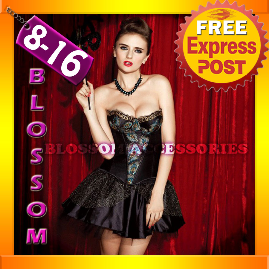 CC26-Peacock-Moulin-Rouge-Burlesque-Vegas-Showgirl-Fancy-Dress-Costume-Corset