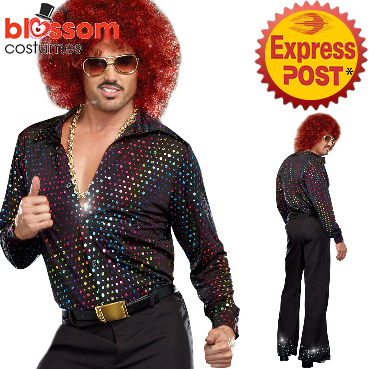 K385-Mens-Disco-Costume-Wig-1960s-Fancy-Dress-Up-Retro-1970s-Hippie-Outfit