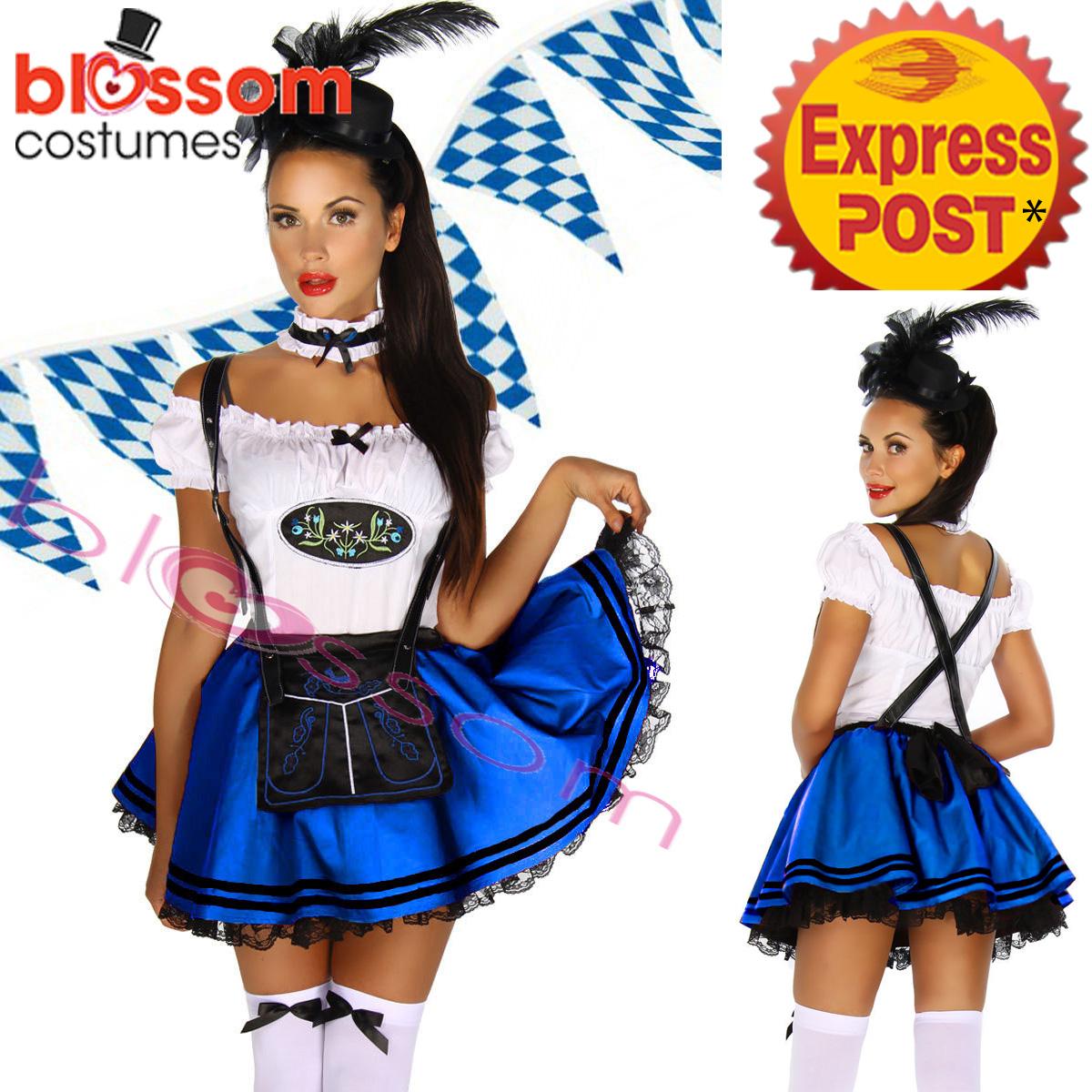 E45-Blue-Oktoberfest-Costume-Dress-Up-German-Heidi-Dirdnl-Leiderhosen-Beer-Maid