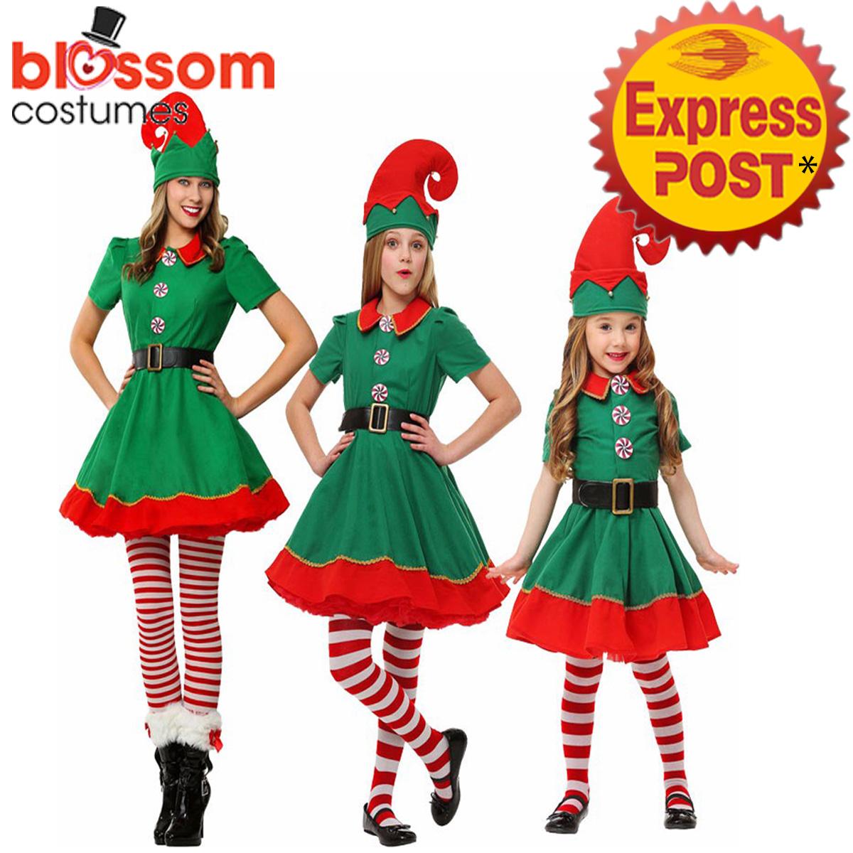 K477-Adult-Kid-Christmas-Xmas-Deluxe-Elf-Costume-Santa-Helper-Dress-Hat-Stocking