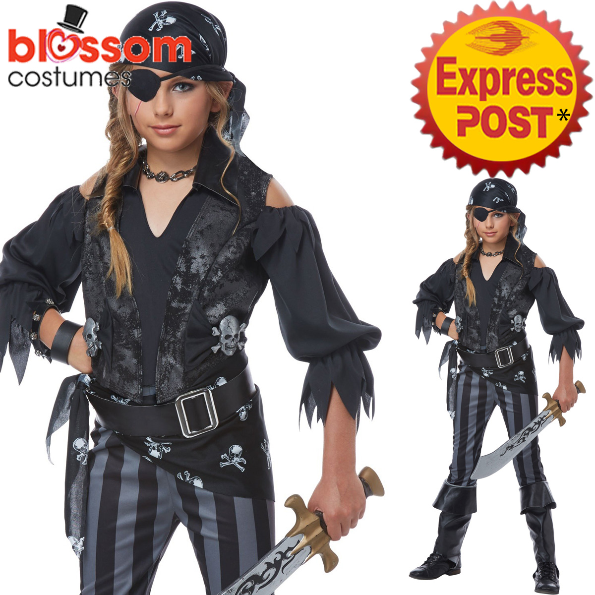 Image is loading CK1083-Rebel-Pirate-Costume-Girls-Kids-Halloween-Fancy-  sc 1 st  eBay & CK1083 Rebel Pirate Costume Girls Kids Halloween Fancy Dress Up Book ...