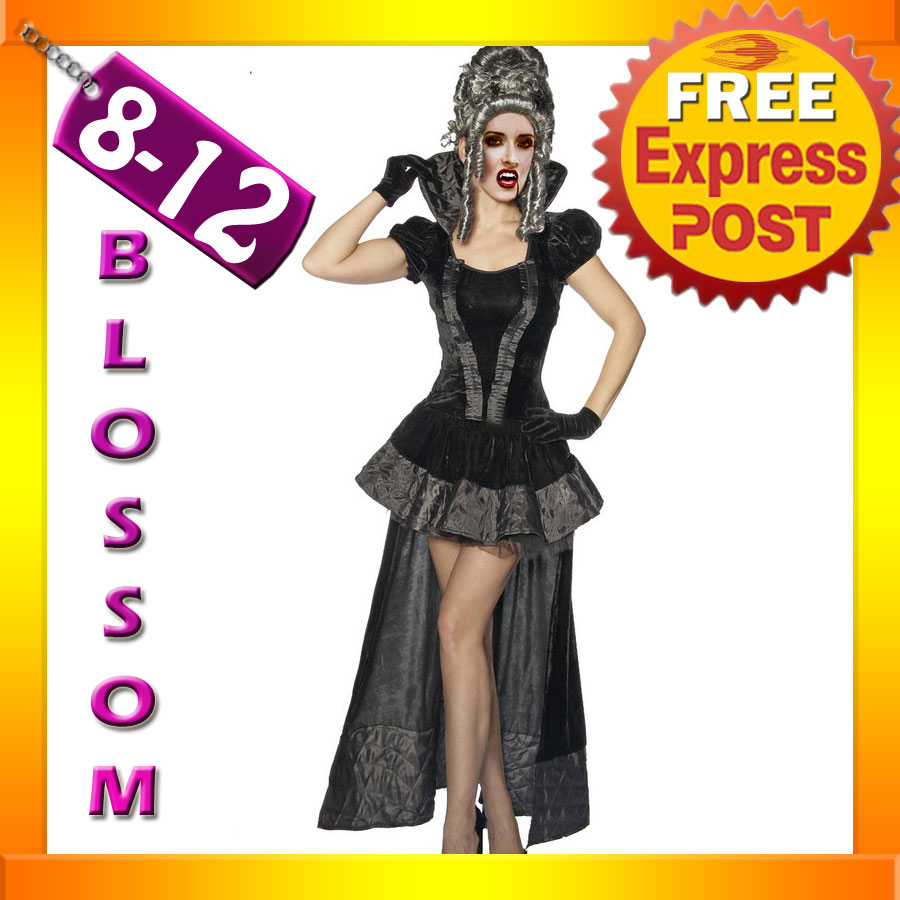 E74-Ladies-Gothic-Velvet-Vampire-Queen-Fancy-Dress-Halloween-Costume-Outfit