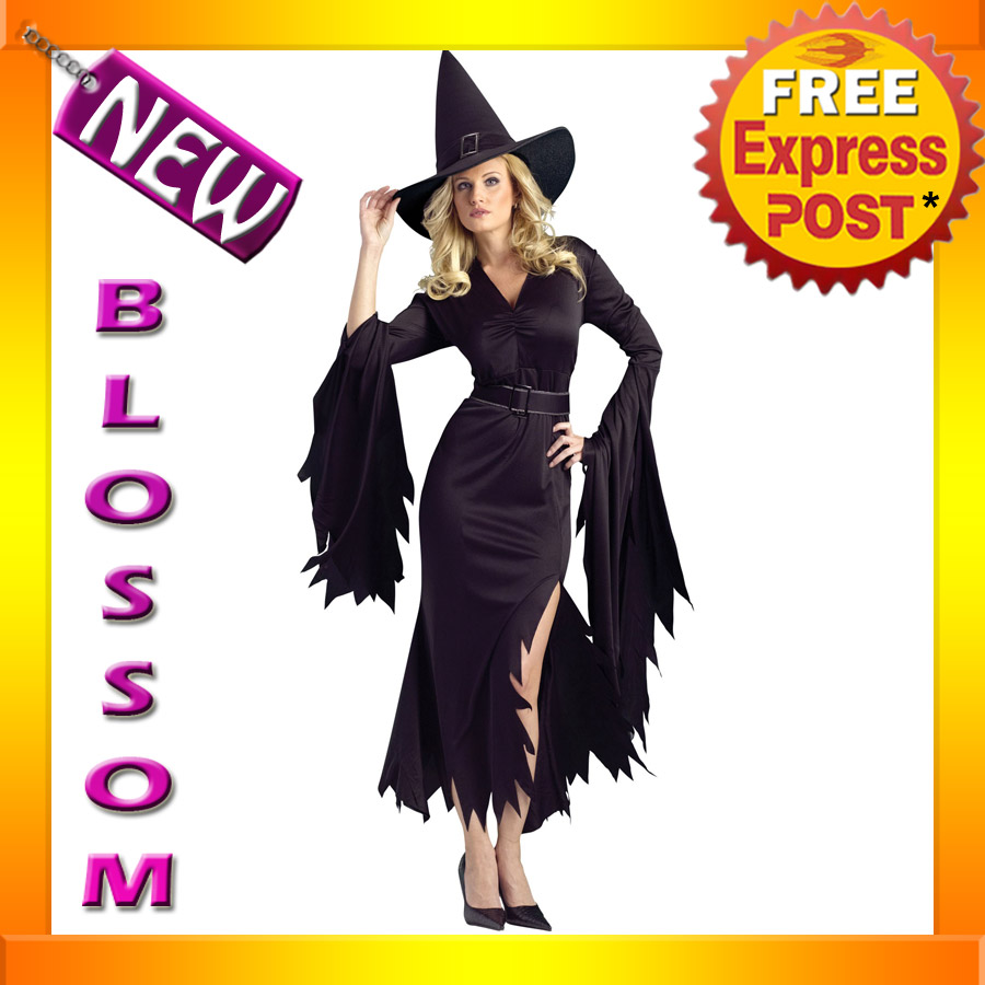 C815-Womens-Black-Gothic-Witch-Halloween-Fancy-Dress-Adult-Costume-S-M-M-L-Plus