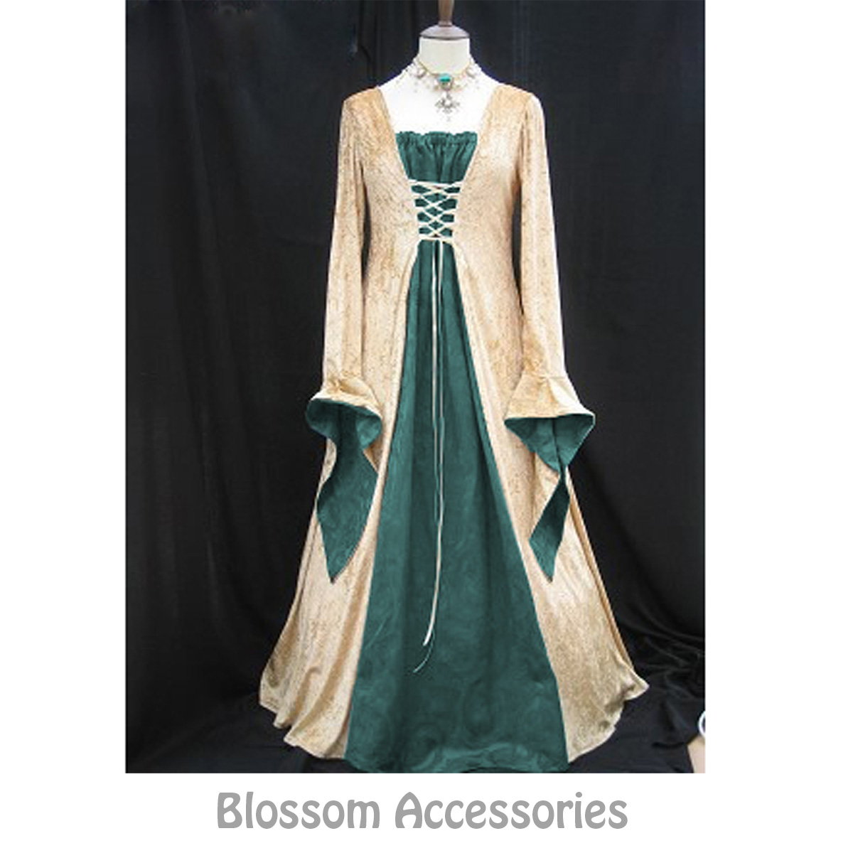 I73 Green Gold Gown Game Thrones Renaissance Medieval Queen Fancy ...