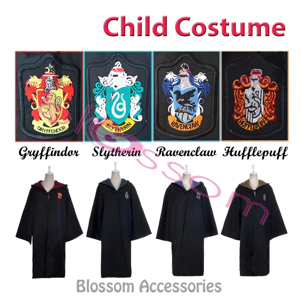 K129 Harry Potter Child Robe Cloak Kids Boys Girls Cosplay