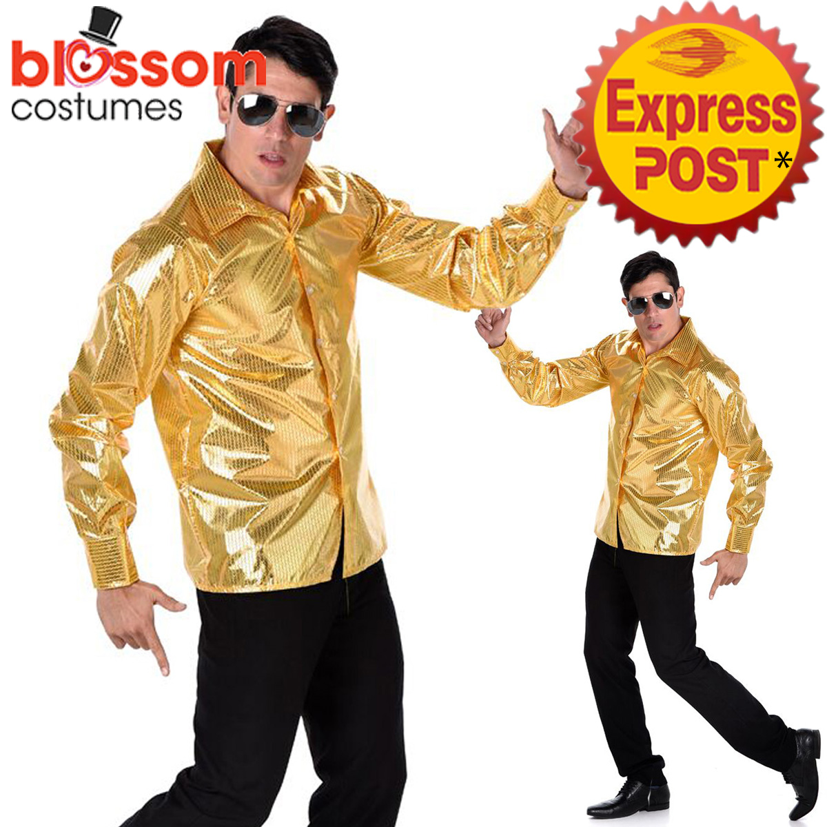CA560-Gold-Sequined-Shirt-70s-60s-Night-Fever-Groovy-Disco-Mens-Costume-Travolta