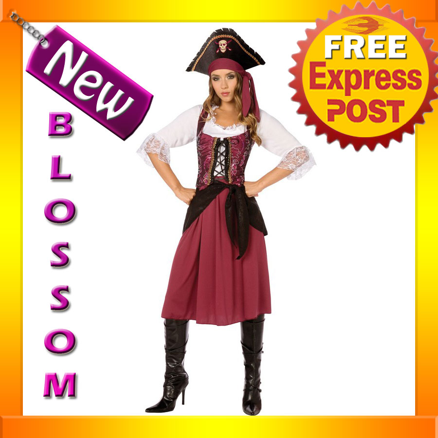 C283-Burgundy-Captain-Pirate-Wench-Deluxe-Ladies-Halloween-Fancy-Dress-Costume