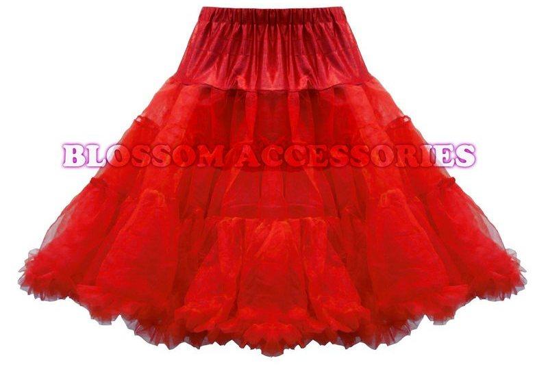 BAS10 Black Red White 65cm Rockabilly Long Petticoat Tulle Costume Underskirt