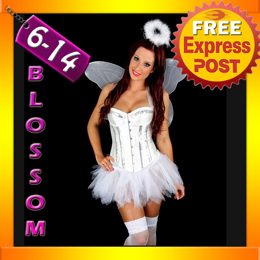 E68-Ladies-Halloween-White-Good-Angel-Corset-Tutu-Dress-Costume-Wing-Halo