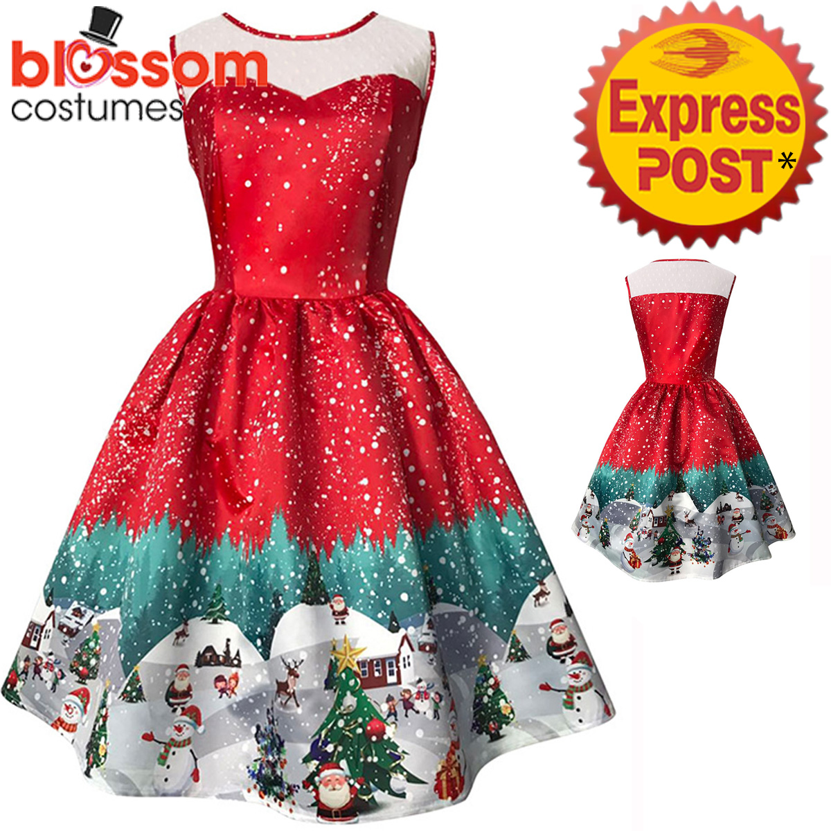 K443-Ladies-Red-Santa-Christmas-Vintage-Swing-Dress-Snowflake-Xmas-Rockabilly
